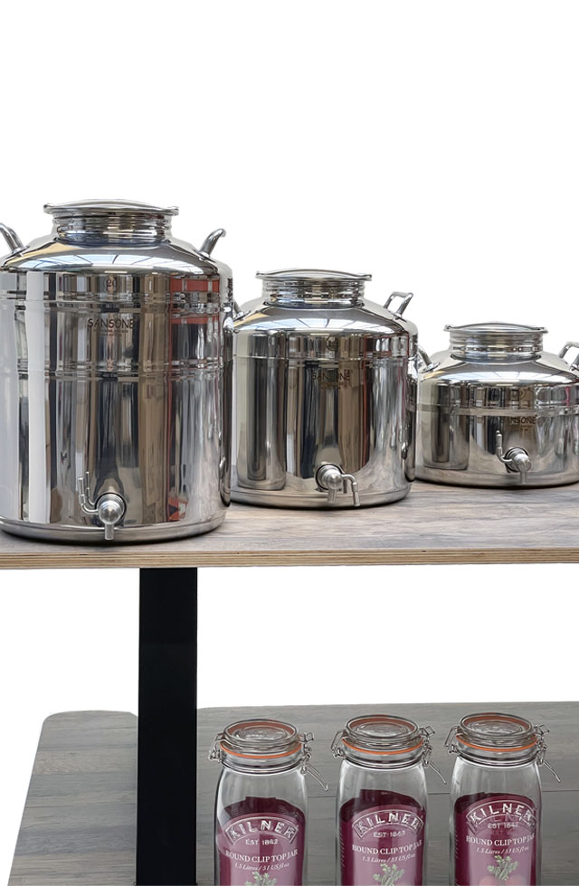 Stainless steel fusti drums