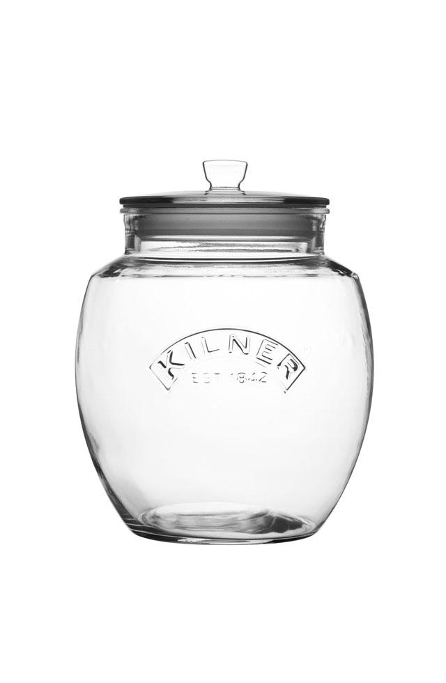 Glass Jar - push top storage jar 4L