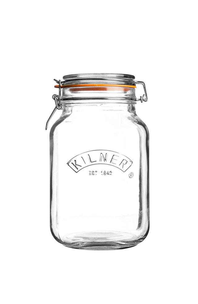 Square clip top glass jar - 2L